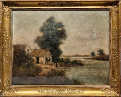École du XIXème siècle.  Chaumière et rivage....