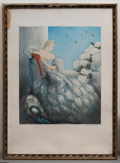Louis ICART (1888 - 1950).  Femme au bouquet....
