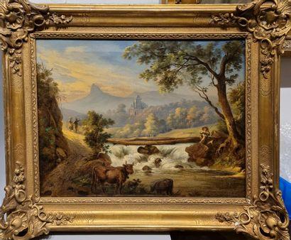 École du XIXème siècle.  Paysage à la cascade....