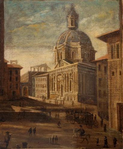 École du XIXème siècle.  Vue d'église en...