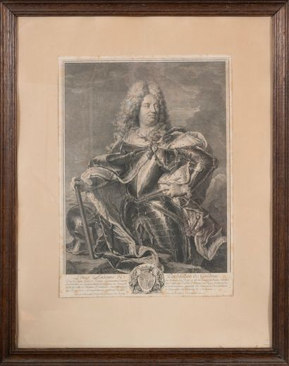 Gravure du XVIIIème siècle.  Portrait de...