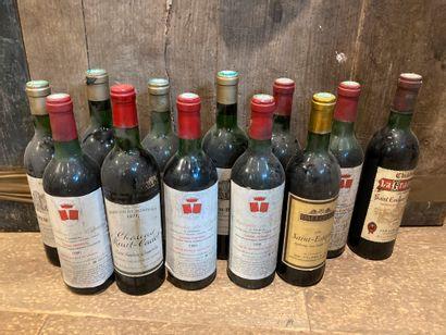 Un lot de bouteilles de vin dont :  -Château...
