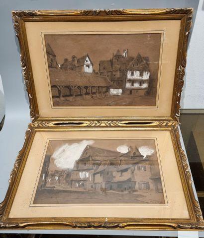 Écoles du XIXème siècle.  Deux vues de villages....
