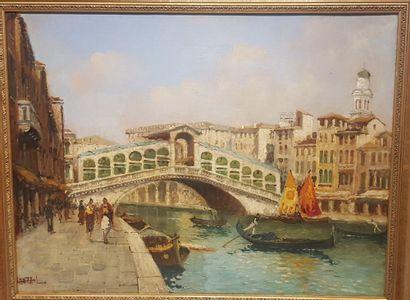 Luigi LANZA (Venise, 1860 - 1913).  Le pont...