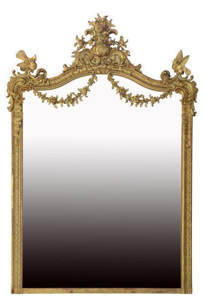 Miroir style Louis 15  Bordé d'une double...