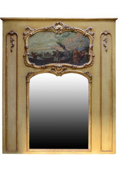 Trumeau style Louis 15  Animé en partie supérieur...