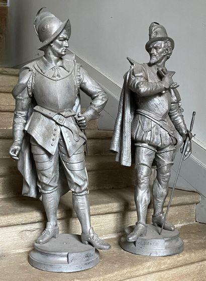 Ligueur et Huguenot  Paire de statues figurant...