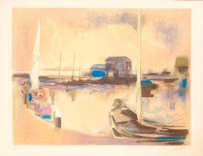 Jean MARZELLE (1916-2005)  le port  Lithographie...