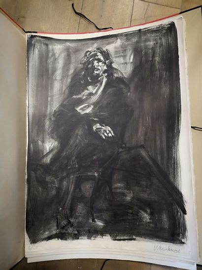 Ecole moderne  Homme assis  lithographie...