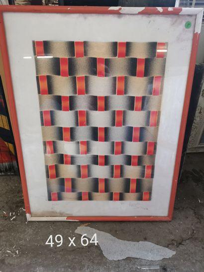 Ecole Moderne  composition cinétique  Lithographie...