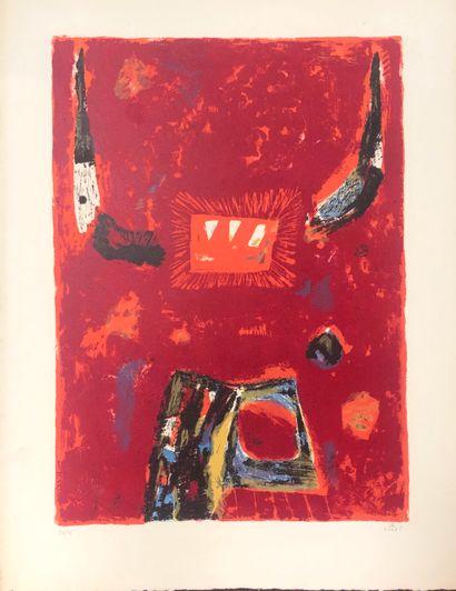 Kumi SUGAI (1919-1996)  Composition rouge...