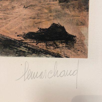 LEMARCHAND  Ruelle de village  Lithographie signée et justifiée Epreuve d'artiste...