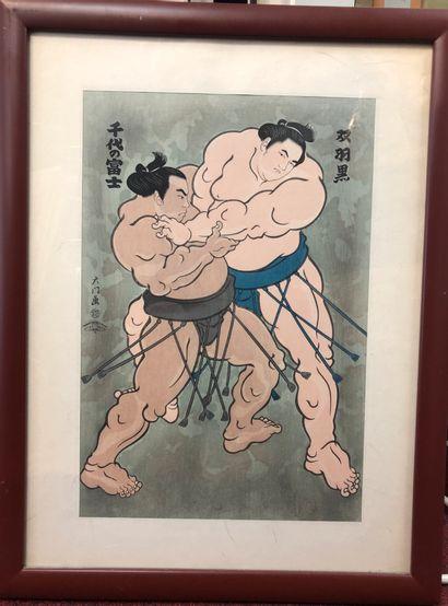 Japon  Combat de Sumo  Estampe  37 x 25 ...