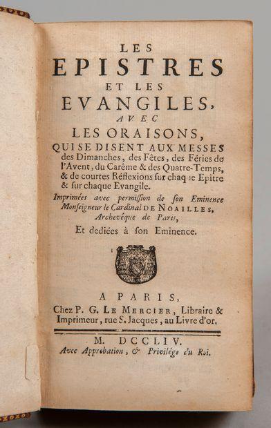 LES ÉPÎTRES et les Evangiles. Paris, Le Mercier, 1754. In-12, mar. rouge, armes...