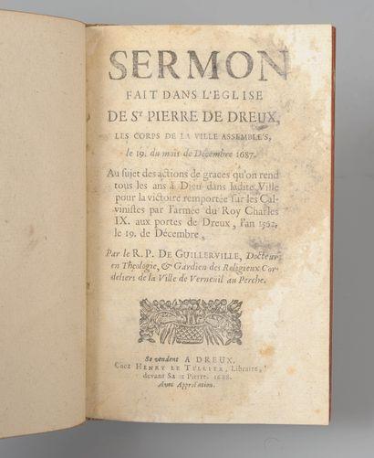 GUILLERVILLE. Sermon fait dans l'église de Saint-Pierre de Dreux. Dreux, Henri Le...