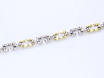 Bracelet articulé en or 750 millièmes partiellement...