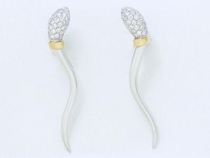 Belle paire de boucles d'oreilles en or gris...