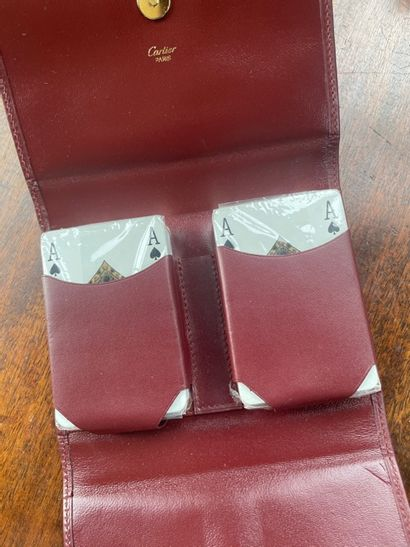 CARTIER Porte cartes à jeu en cuir rouge...
