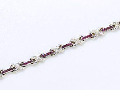 Bracelet articulé en or 750 millièmes rhodié,...