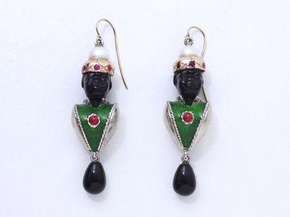 Paire de pendants d'oreilles en argent 800,...