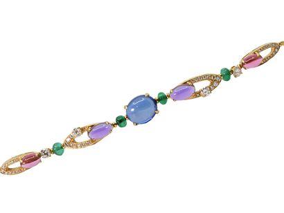 BULGARI  Bracelet en or 750 millièmes, centré...