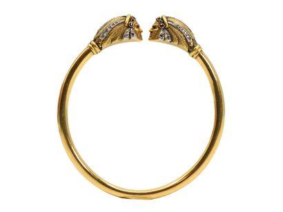 Bracelet jonc ouvert en or 750 millièmes...