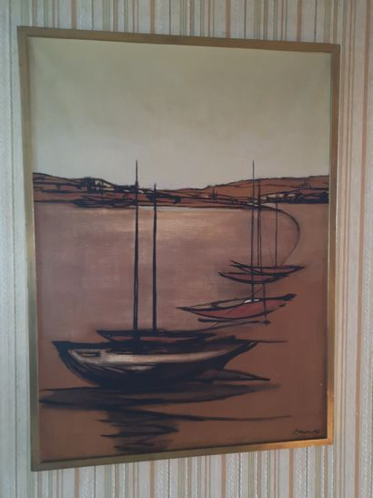 P. Legrand  Bateaux au bord de la plage  Huile...