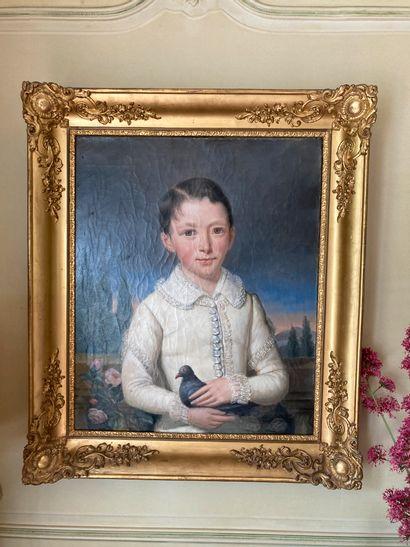 Ecole du XIXe siècle  Jeune enfant au pigeon...