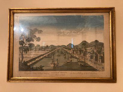 Vue d'optique représentant un lac et village...