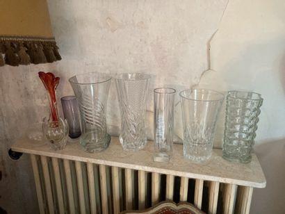 Ensemble en cristal et verre comprenant neuf...