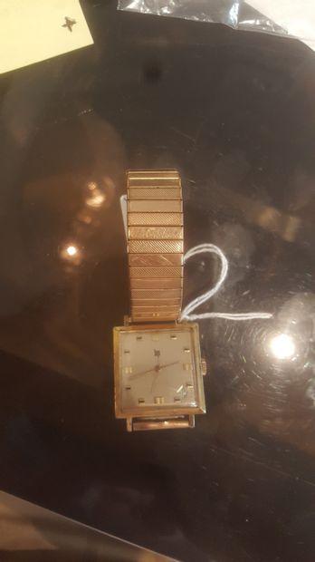 LIP , Montre carré, Date en angle à 5h. Métal...