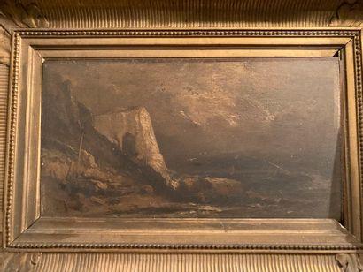 Ecole du XIXe siècle  La falaise  Huile sur...