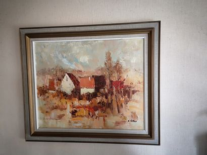 E. RITTER  Village  Huile sur toile signée...