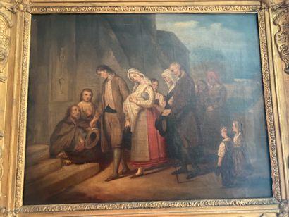 Ecole du XIXe siècle  Le baptême  Huile sur...