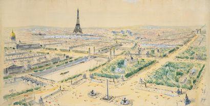 Pierre Pages (née en 1933) Vue de Paris...