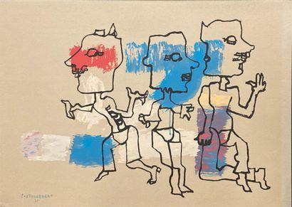RENÉ PORTOCARRERO (1912-1985)  Composition à trois figures  Lithographie  Signée...