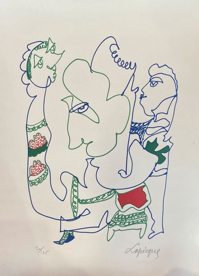 Charles LAPIQUE (1898-1988)  Figure  Lithographie...