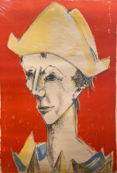LORJOU BERNARD (1908-1986)  Portrait  Lithographie  100 x 66 cm.