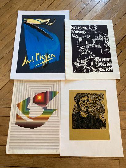 Lot d'affiches d'expositions et divers :...