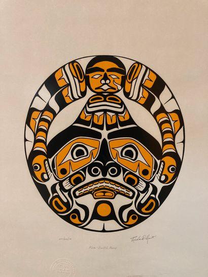 KWA-GULTH MOON  Masque  Lithographie  Signé, numéroté et cacheté