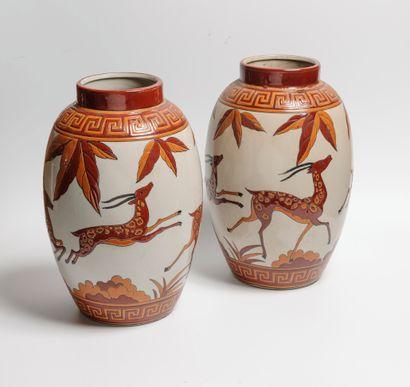 KERALOUVE à La Louvière  Paire de vases en...