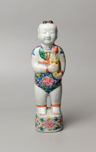 CHINE, XVIIIème siècle. Statuette de Hoho debut tenant un vase aux lotus. Porcelaine...