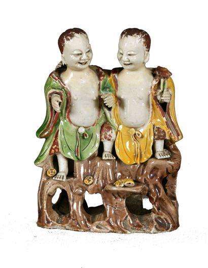 CHINE, époque Kangxi (1661-1722). Sujet représentant...