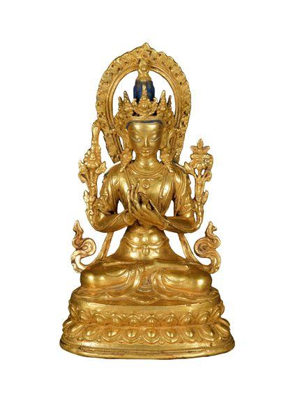 TIBET, XXème siècle. Statuette de Padmapani...