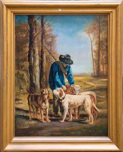 Travail Moderne  Chasseurs et chiens  Huile...