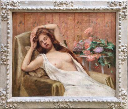 Ecole Moderne  Femme assoupi aux seins nue...