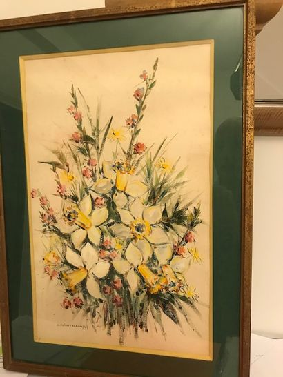 Suzanne Mérot-Maury  Bouquet de fleurs  Aquarelle...