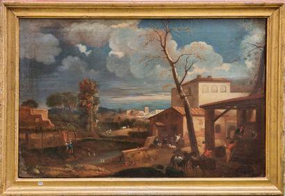 Ecole italienne  Village en bord de rivière...