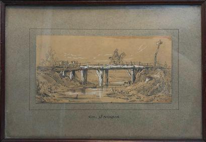 Ecole FRANCAISE  Cavalier sur un pont  Crayon...