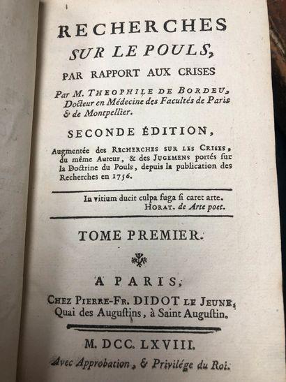 Deux volumes  Recherches sur le pouls  Théophile...